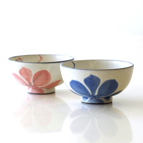 お茶碗 ごはん茶碗 おしゃれ 可愛い 陶器 日本製 瀬戸焼 花 デザイン ご飯茶碗 花音2カラー [mkn9693]