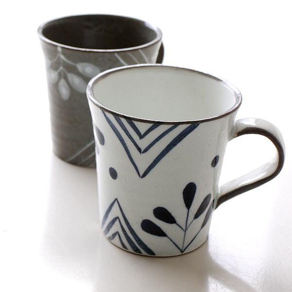 マグカップ 陶器 おしゃれ 和モダン 日本製 焼き物 瀬戸焼 インディゴ五つ葉マグ2カラー [mkn9798]