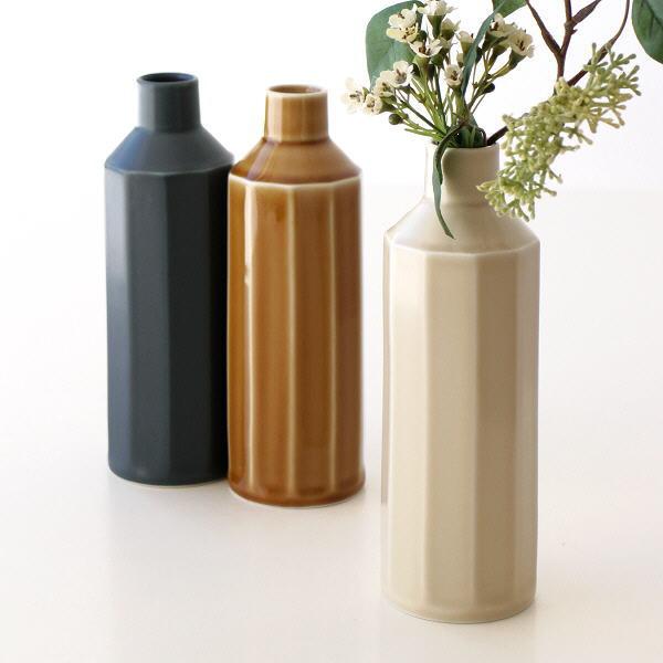 花瓶 フラワーベース おしゃれ かわいい 一輪挿し 面取り 陶器 花器 日本製 磁器 焼き物 モダン シンプル インテリア 色釉面取り花瓶 3カラー [msg0086]