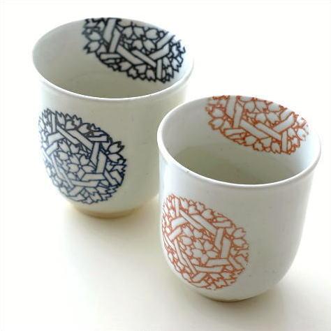 湯のみ 夫婦茶碗 陶器 焼き物 湯呑み 湯飲み 湯のみ茶碗 おしゃれ シンプル 和食器 有田焼 日本製 花てまり湯のみ 大・小 2個セット