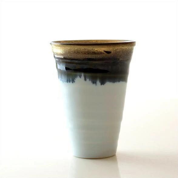 ビアカップ ビールカップ 陶器 有田焼 日本製 墨流し&ゴールドビアカップ [msg1772]