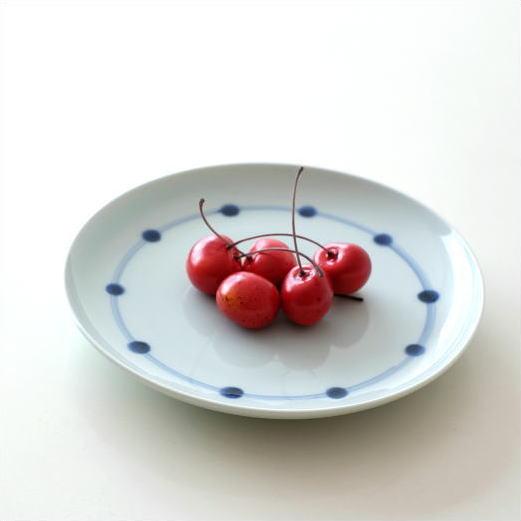 お皿 プレート 陶器 おしゃれ かわいい シンプル 染付け 白 藍 和食器 日本製 有田焼 プレート 染付ライン [msg1779]