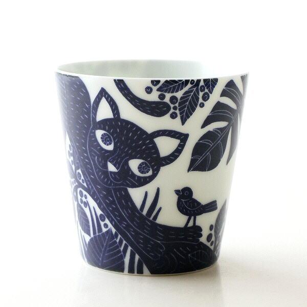 カップ 湯飲み おしゃれ かわいい コップ 波佐見焼 日本製 ネコ柄 磁器 薄口 プレゼント 大人ねこ フリーカップ [msg2931]