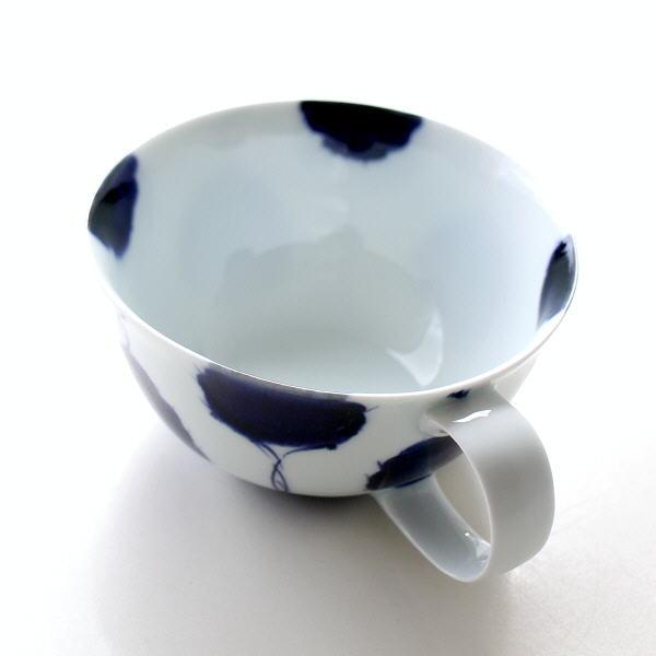 スープカップ おしゃれ かわいい 磁器 和食器 モダン 日本製 波佐見焼 古染濃笹 スープマグ [msg3457]