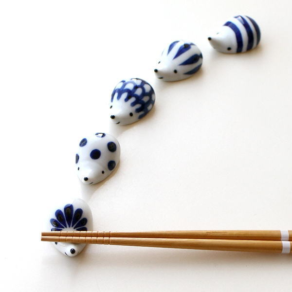 箸置き かわいい 陶器 5個セット 日本製 焼き物 有田焼 陶器の箸置き ハリネズミ5柄セット [msg3852]