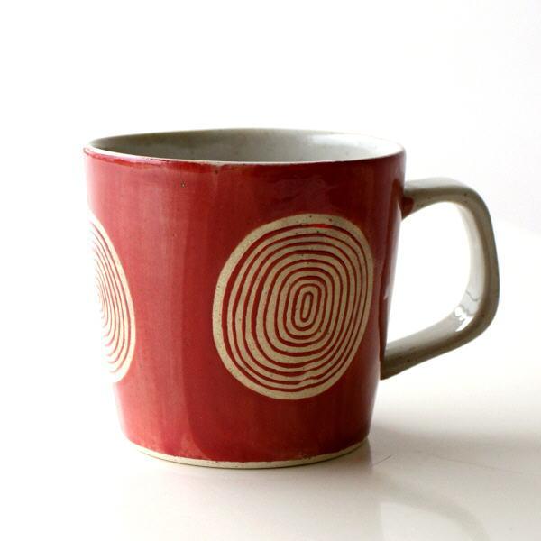 マグカップ おしゃれ 陶器 有田焼 日本製 焼き物 和食器 コーヒーマグ 和風 モダン デザイン 渦巻きマグ 赤 [msg3964]