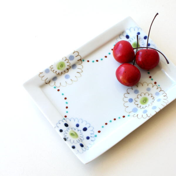 お皿 プレート おしゃれ 可愛い 白 四角 長方形 陶器 有田焼 日本製 ペイントプレート長角トレー S [msg4045]