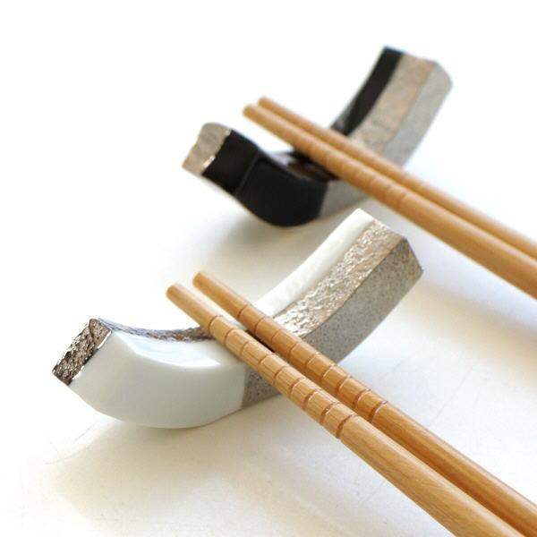 箸置き おしゃれ 陶器 2個セット 和風 日本製 焼き物 有田焼 陶器の箸置き 市松長角銀2カラーセット [msg5158]