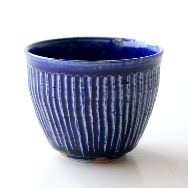 湯呑み茶碗 湯のみ 湯飲み おしゃれ 和食器 有田焼 陶器 コップ 瑠璃釉しのぎ フリーカップ [msg5592]