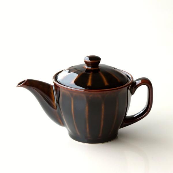 ティーポット おしゃれ 陶器 茶こし付き 日本製 有田焼 色釉面取りポット アメ釉 [msg5697]