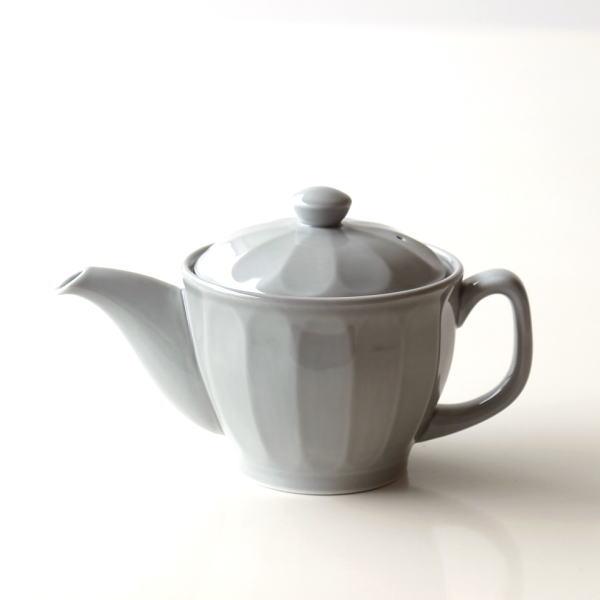 ティーポット おしゃれ かわいい グレー 陶器 茶こし付き 日本製 有田焼 色釉面取りポット グレー [msg6644]