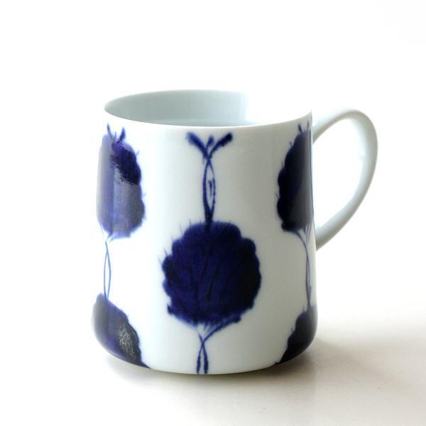 マグカップ おしゃれ かわいい 磁器 和食器 モダン 日本製 波佐見焼 古染濃笹 マグ [msg7104]