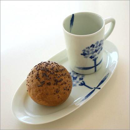 コーヒーカップ&ソーサー ティーカップ お皿 プレート セット 陶器 おしゃれ かわいい シンプル 有田焼 日本製 和食器 カップ&ロングソーサー アジサイ