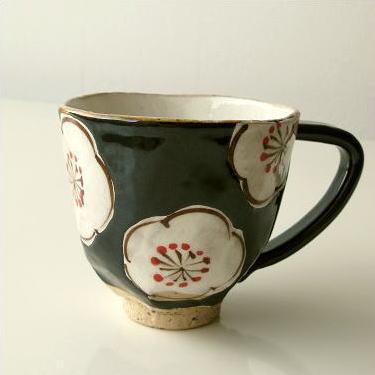 マグカップ 陶器 有田焼 日本製 コーヒーカップ 和風 洋風 デザイン マグカップ 梅ロマン