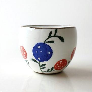 湯呑み 湯飲み 湯のみ茶碗 おしゃれ 有田焼 粉引丸煎茶 花の実 [msg9152]