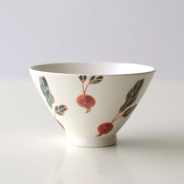 お茶碗 おしゃれ 白 可愛い 陶器 有田焼 日本製 ご飯茶碗 ラディッシュ茶碗 [msg9590]