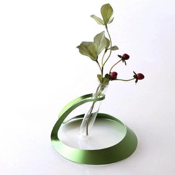 一輪挿し おしゃれ ガラス 花瓶 フラワーベース モダン スタイリッシュ 日本製 アルミとガラスのミニべース GL [msn0676]