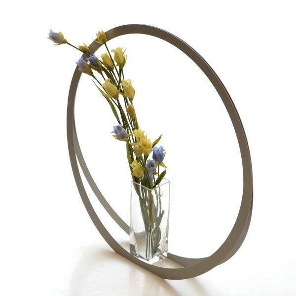 フラワーベース 花瓶 おしゃれ モダン ガラス 花器 シンプル モダン スタイリッシュ 玄関 インテリア アルミとガラスのベース UT [msn0822]
