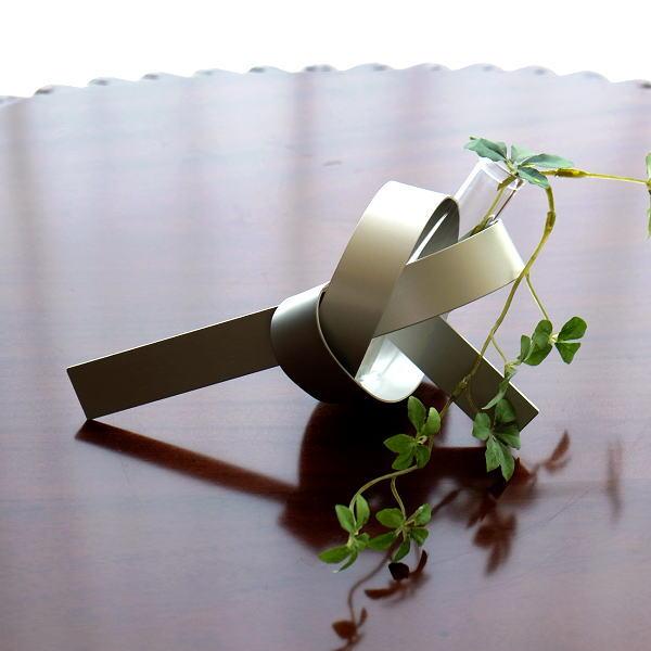 フラワーベース 花瓶 おしゃれ モダン ガラス 花器 シンプル モダン スタイリッシュ 玄関 インテリア アルミとガラスのベース MU [msn0824]