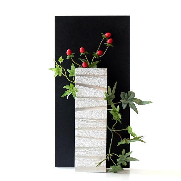 花瓶 フラワーベース ガラス 一輪挿し おしゃれ モダン シンプル 花器 玄関 インテリア アルミとガラスのウッドフレームベース [msn0825]