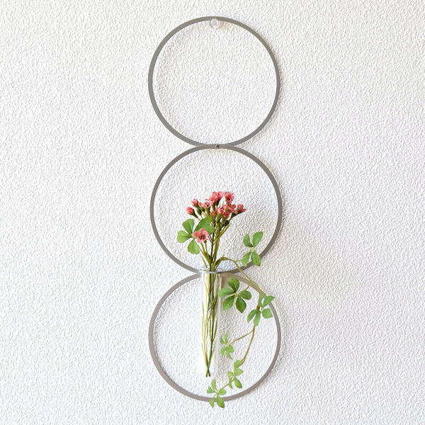 フラワーベース 一輪挿し 壁掛け インテリア 花瓶 ガラス管 試験管 モダン シンプル 壁飾り 壁面 ディスプレイ アルミとガラスのベース リング [msn0826]