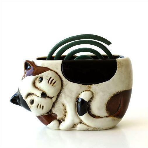 陶器の蚊遣り ミケネコ [mtl5080]