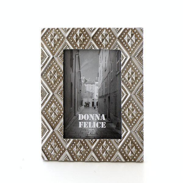 フォトフレーム 壁掛け おしゃれ かわいい 縦置き 横置き 写真立て 卓上 樹脂 クラシック ダイヤ型 アンティーク ガラスフォトフレーム シルバービジー [mty2424]