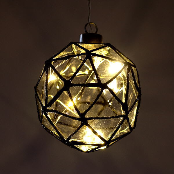 LEDライト ガラス ハンギングライト 吊り下げ 電池式 おしゃれ かわいい 多面体 ガラスのキューブライト [mty2638]