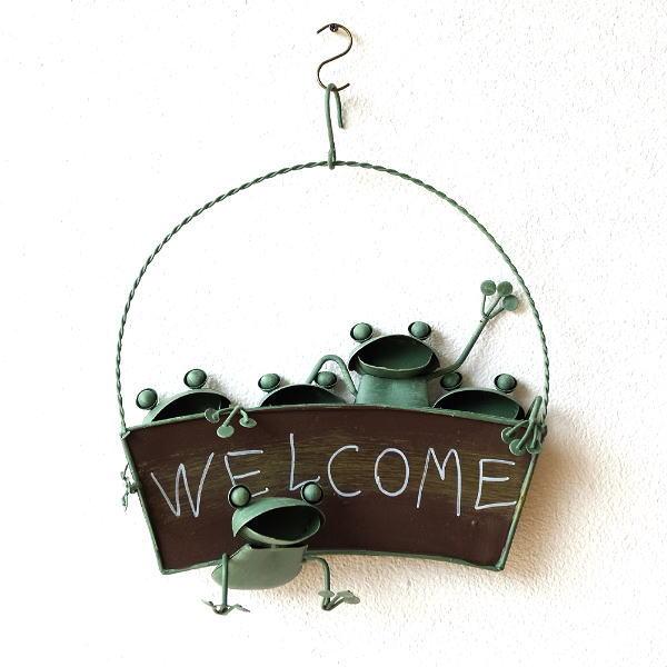 カエル 壁掛け 吊り下げ 置物 玄関 ブリキ グッズ 雑貨 オブジェ サイン Welcome おしゃれ かわいい インテリア ブリキのカエル ウェルカムハンギング [mty2876]