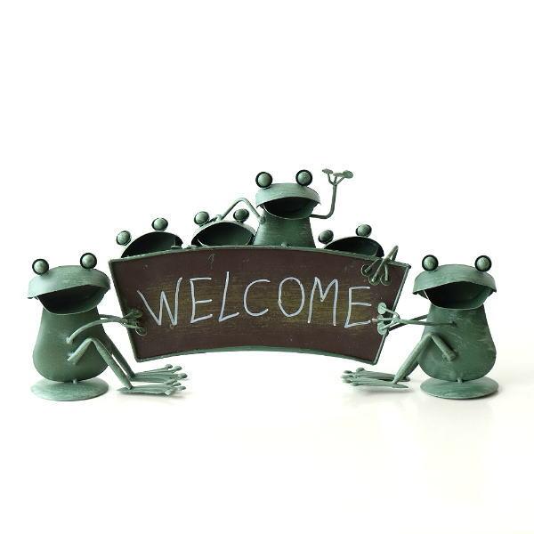 カエル 置物 玄関 ブリキ グッズ 雑貨 オブジェ サイン Welcome おしゃれ かわいい インテリア ブリキのカエル ウェルカムスタンド [mty3277]