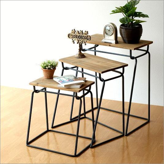 コンソールテーブル 木製 ネストテーブル サイドテーブル おしゃれ アンティーク ウッドとアイアンのコンソール3セット【送料無料】
