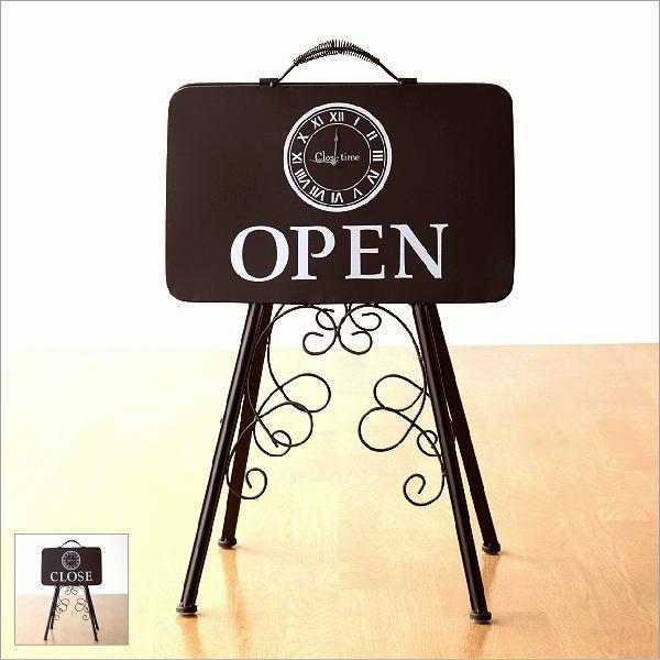 看板 オープン クローズ OPEN CLOSE スタンド アイアン サインボード アンティーク風 おしゃれ 折りたたみ お店 店舗 オープン&クローズタイムスタンド [mty3986]