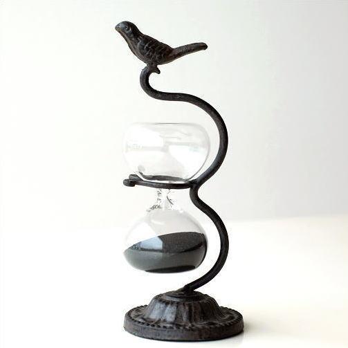 砂時計 アンティーク おしゃれ 鳥 雑貨 置物 約3分 インテリア オブジェ アイアンバードの砂時計 [mty3989]