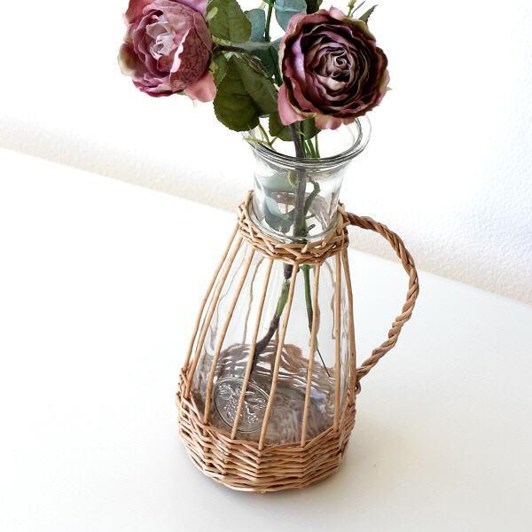 フラワーベース ガラス 花瓶 花びん おしゃれ 柳 蔓 自然素材 ナチュラル 花器 シンプル ガラスベース インテリア ウィローとガラスのベース スリム [mty4456]