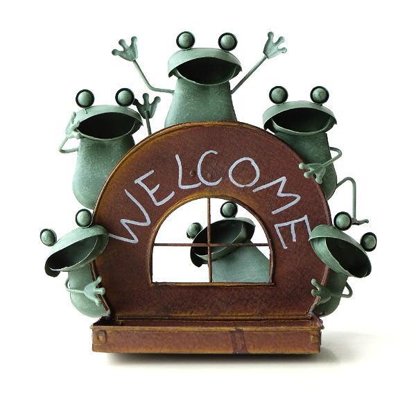 カエル 置物 玄関 ブリキ グッズ 雑貨 オブジェ トレイ 鍵入れ サイン Welcome おしゃれ かわいい インテリア ブリキのカエル フロッグトレイ [mty4600]