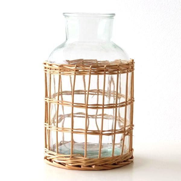 フラワーベース ガラス 花瓶 花びん おしゃれ ガラスベース ウィローとガラスのベース フラワーボトル [mty4991]