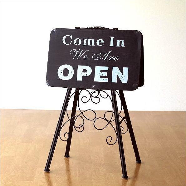 看板 サインプレート オープン クローズ oepn close カフェ アンティーク レトロ おしゃれ アイアン 折りたたみ オープン&クローズスタンド [mty5582]