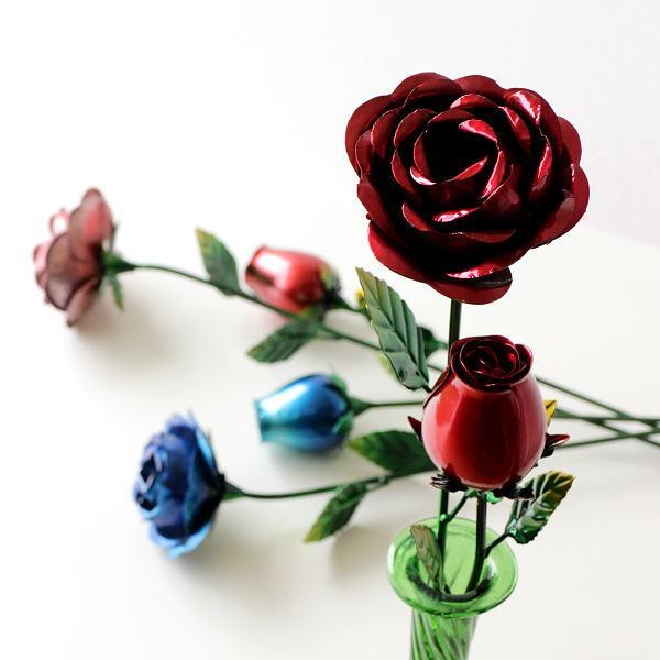 造花 バラ 薔薇 インテリア おしゃれ フェイクフラワー ピンク レッド ブルー アイアンローズ2本セット [mty7049]