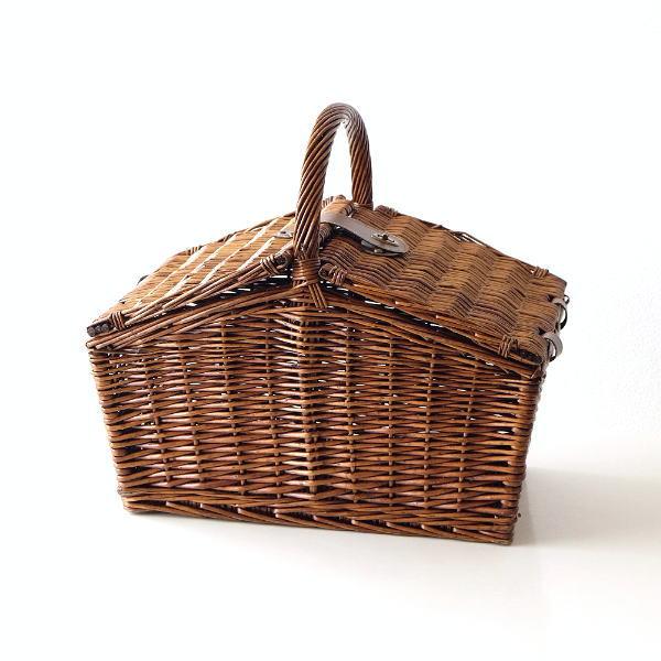 バスケット かご ふた付き おしゃれ 持ち手 ピクニック 柳 ウィロー 軽量 軽い 収納 蓋つき 手提げ ピクニックバスケットB [mty7839]