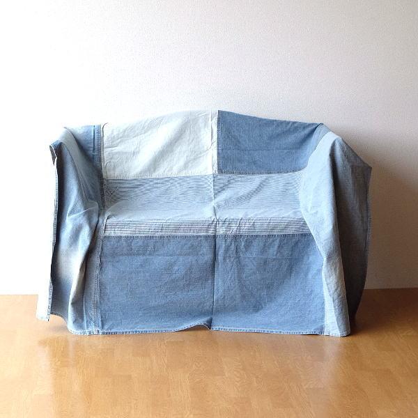 マルチカバー ソファー ベッド おしゃれ 長方形 ソファーカバー 敷物 綿100% パッチワークデニムカバー [mty8778]