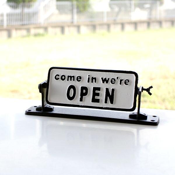 オープン クローズ 看板 プレート アイアン アンティーク OPEN CLOSED おしゃれ 卓上 壁掛け オープン&クローズ ターニングスタンド [mty8984]