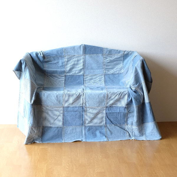 マルチカバー ソファー ベッド おしゃれ 長方形 ソファーカバー 敷物 綿100% パッチワークデニムカバー ブロック [mty9892]