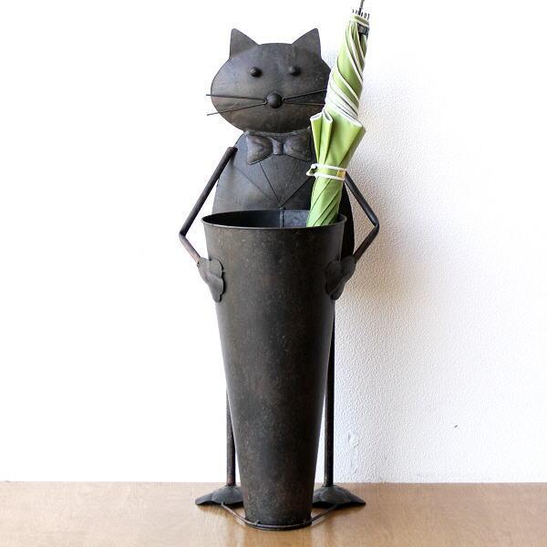 傘立て ブリキ 猫 ネコ かわいい アンティーク レトロ シャビー 傘入れ アンブレラスタンド ビッグキャットのブリキの傘立て [mty9976]