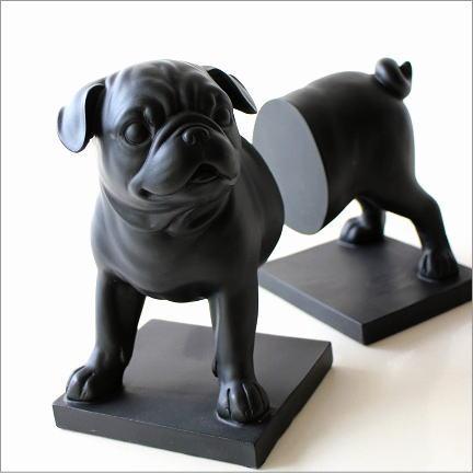 本立て 本立 おしゃれ かわいい ブックスタンド イヌ 犬 置物 オブジェ アンティーク ブックエンド パグ