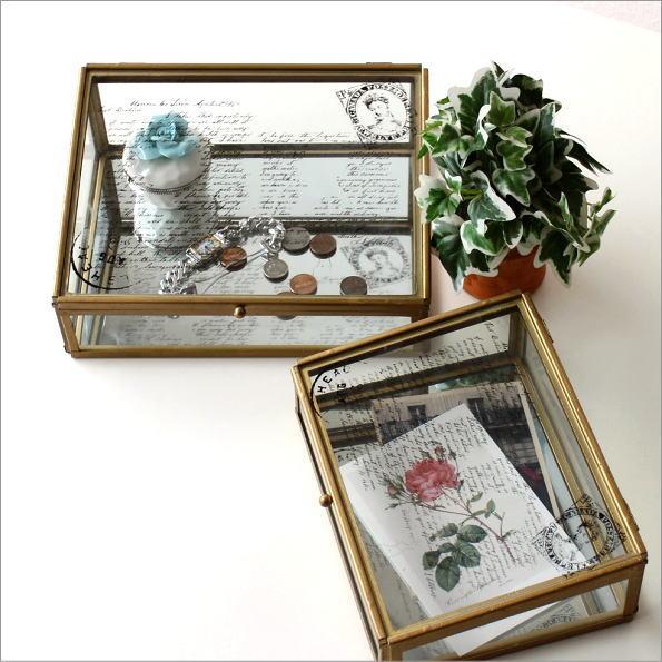 ガラスケース 小物入れ レトロ おしゃれ 収納 ボックス ふた付き アンティークなガラスケース 2Pセット