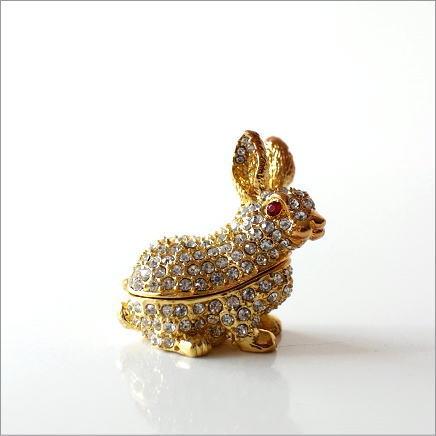 アクセサリーケース 収納 ボックス かわいい うさぎ ウサギ 雑貨 キラキラ 小さなメタルのジュエリーケース ラビット