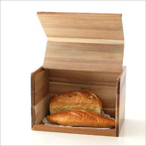 ブレッドケース 木製 パンケース パン入れ 食パン ストッカー 収納 保存ケース 調味料入れ ナチュラル 北欧 シンプル おしゃれ スクエアブレッドケース ブラウン