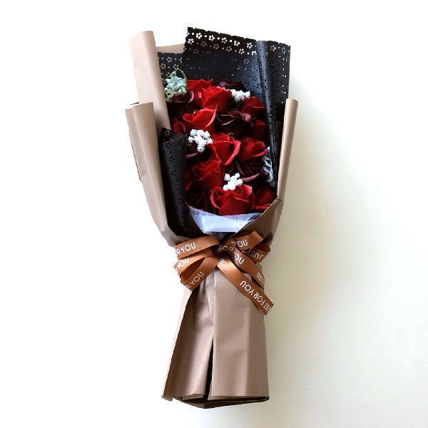 ソープフラワー ブーケ 花束 ギフト アレンジメント バラ 薔薇 ローズ 造花 おしゃれ お祝い 開店祝い 誕生日 プレゼント ソープフラワーブーケボルドー [peo2363]