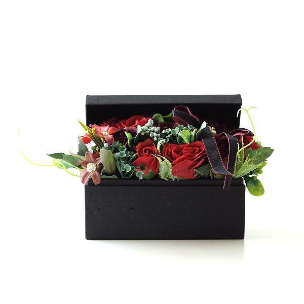 ソープフラワー ボックス ギフト アレンジメント 薔薇 バラ ローズ 造花 贈り物 おしゃれ お祝い 誕生日 プレゼント ソープフラワーボックスアンティークレッド [peo3356]