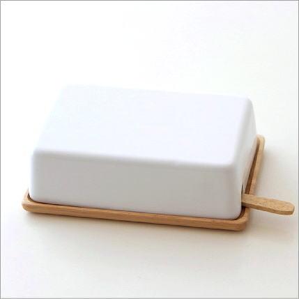 バターケース 陶器 木製 バターナイフ付き シンプル ナチュラル 北欧 キッチン雑貨 かわいい おしゃれ 白 陶器蓋のバターケースナイフ付き B